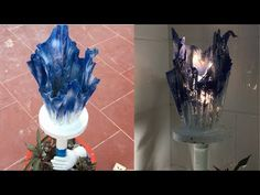 Craft Ideas Cement Decorative Lights Combine Plant Pots | Beautiful Design for Home and Garden Decor - YouTube