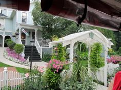 Image detail for -. the elaborate Victorian architecture of the houses, hotels and B Mackinac Island, Victorian Architecture, Victorian Homes, Pergola, Outdoor Structures, Hotels, House, Gardens, Detail