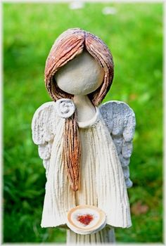 Pottery Angels, Clay People, Ceramic Angels, Angel Crafts, Fire Art, Clay Figurine, Art Carved, Fused Glass Art, Clay Dolls