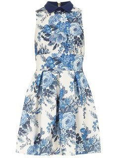 Blue Tapestry Print Dress - Dresses - Clothing