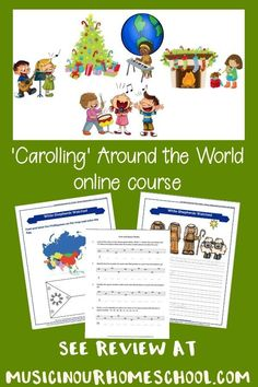 Carolling Around the World to learn about Christmas Carols. I love this course for helping your kids learn about 12 different Christmas carols, the composers, AND 12 different countries of the world! Music Lessons For Kids, Music Lesson Plans, Music For Kids, Piano Lessons, Teaching Music, Teaching Kids, Kids Learning, Learning Piano, Music Courses