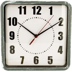 Distressed Square Grey Wall Clock Case Pack 2