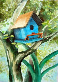 """Bird House"" - watercolor - 24 x 32 cm - by Silvana Pohl"