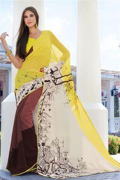 Party Wear Yellow, Cream Half-Half Georgette Printed Saree