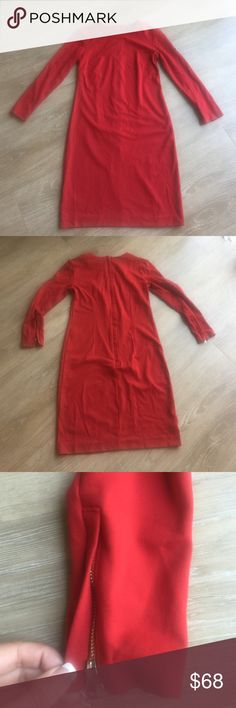 "Ann Taylor 3/4 Sleeve Red Dress Ann Taylor 3/4 Sleeve Red Dress; Measures 27"" from Shoulder Seam to Hem; Zip Closure Embellishment at Sleeves; Zip Back Closure; Crew Neck; 70% Rayon, 25% Nylon, 5% Spandex; Excellent Condition Ann Taylor Dresses Midi"