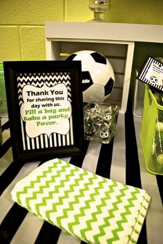 Favor bags at a Soccer party! See more party ideas at CatchMyParty.com!
