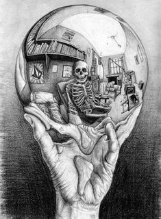 Hand Holding Reflective Sphere - Skullspiration.com - skull designs, art, fashion and more