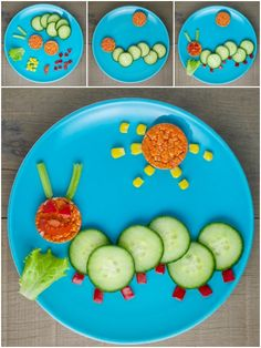 Organix fun, healthy and easy Food Art Plates for toddlers - fun caterpillar plate with full instructions