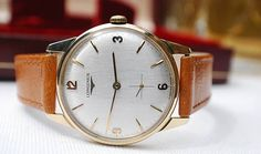 Longines 9ct Gold Baume Case Gents Vintage Watch In Box