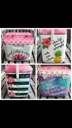 Lotus's are one of my favorite flowers! Love this cooler! Sorority Canvas, Sorority Paddles, Sorority Crafts, Sorority Recruitment, Diy Cooler, Coolest Cooler, Fraternity Coolers, Frat Coolers, Cute Crafts