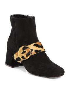 PRADA Suede & Leopard-Print Calf Hair Button Block Heel Booties. #prada #shoes #boots