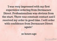 A lovely company review!  😘  Head to our site now to tell us your experience with Dermacare Direct!  #review #opinions #impressed #experience #company #lovely #professional #confidence #dermacare #skingoals #skincare #fivestar The Verdict, Five Star, To Tell, Confidence, Skincare, Goals, Skin Care, Self Confidence, Skin Treatments