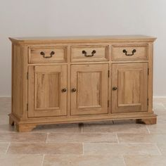 Traditional design is updated with contemporary light natural hardwood to make this comprehensive sideboard a timeless addition to your home. Shipping is free. Den Furniture, Solid Wood Furniture, Rustic Furniture, Living Room Furniture, Furniture Ideas, Solid Oak Sideboard, Large Sideboard, Credenza, Dining Room Table Decor