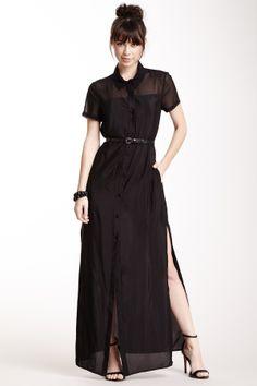 BCBG Sheer Yoke Short Sleeve Shirt Dress