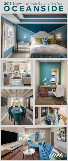 We'll always hold deep blues close to our heart. Oceanside SW the Sherwin-Williams 2018 Color of the Year, is beautiful in nearly every room and space, as shown by Click through for more ways to use this paint color in your home. Best Interior Paint, Interior Paint Colors, Interior Design, Outside House Paint, Pantone, Best White Paint, Do It Yourself Home, Florida Home, House Colors