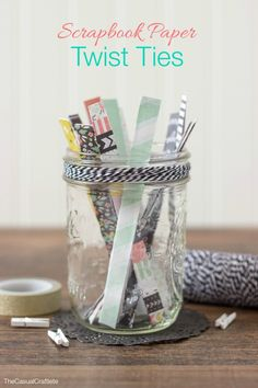 Learn how to make these Scrapbook Paper Twist Ties in minutes. A great way to use up scraps. So easy and perfect for wrapping gifts! Diy Crafts Videos, Diy Craft Projects, Craft Tutorials, Diy Crafts To Sell, Love Scrapbook, Scrapbook Paper, Scrapbooking Ideas, Scrapbook Layouts, Thing 1