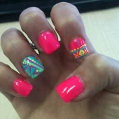 Way cool brute pink Aztec nails. Who says u can't wear brute colors on fall