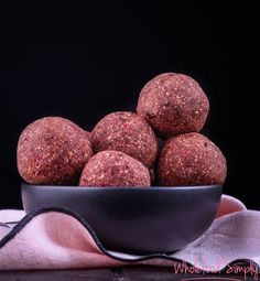 Chocolate and Raspberry Bliss Balls. LOVE LOVE LOVE!!! Simple, delicious and free from gluten, grains, dairy, egg and refined sugar. Enjoy.
