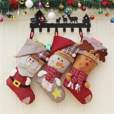 "3 Pcs Set Big size Classic Christmas Stockings 18"" Santa's Toys Stockings"