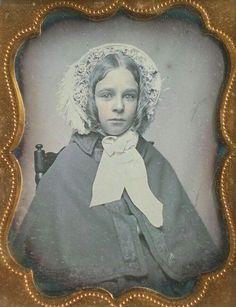I want to hug this girl! Wouldn't it be fun to see her smile. From the trimming on the inside of the bonnet ca.1850.