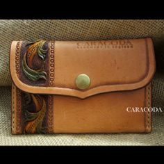 """Leather wallet """"Mini"""" hand carved, colored, stitched 4"""