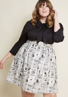 Lift your spirits while scoring major style points in this ivory skirt from Retrolicious! A newspaper print of witch-related advertisements delights on this. Chubby Fashion, Curvy Girl Fashion, Work Fashion, Modest Fashion, Skirt Fashion, Fashion Outfits, Plus Size Fashion Dresses, Plus Size Fashion For Women, Plus Size Outfits