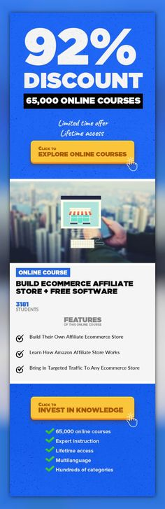 Build Ecommerce Affiliate Store + FREE Software E-Commerce, Development #onlinecourses #onlinelessonsfun #onlinetrainingstudent  Simple Guide To Build An Ecommerce Store And Bring In Laser Targeted Traffic Do you want to build a successful ecommerce affiliate store? After watching the course, you can instantly build a super cool Amazon Affiliate Ecommerce store very easily. You can not only bring ...