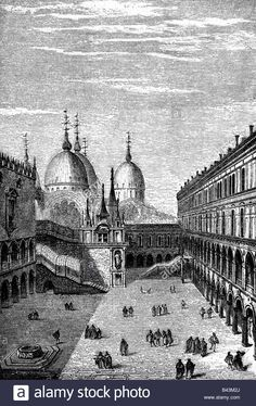 geography / travel, Italy, Venice, Doge's Palace (Palazzo Ducale), court in 15th century, History painting, engraving, 19th cent Stock Photo