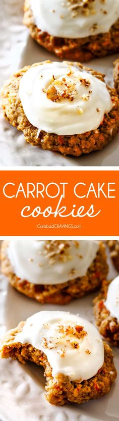 Soft and chewy Carrot Cake Cookies are everything you love about Carrot Cake in easy-to-make chewy cookie form! (Tips and tricks and step by step photos!) via @carlsbadcraving