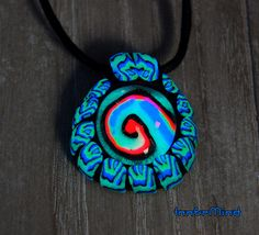 FREE shipping  Tribal Trippy UV Blacklight Pendant Glass Clay