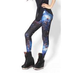 Yoins Blue Galaxy Print Leggings ($12) ❤ liked on Polyvore featuring pants, leggings, black, galactic leggings, blue leggings, blue pants, galaxy pants and nebula leggings