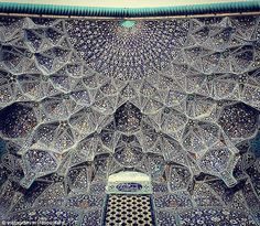 The ceiling of the Sheikh Lotfollah Mosque in Isfahān has turquoise and purple detailing that is breathtaking to behold