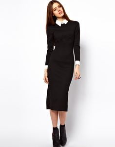 Pencil Dress With Collar And 3/4 Sleeve