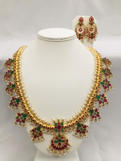 Multicolor stones with pearls gutta pusalu long necklace set Handmade jewelry Silver plated jewelry India Jewelry, Jewelry Art, Silver Jewelry, Gutta Pusalu, Necklace Set, Silver Plate, Handmade Jewelry, Stones, Pearls