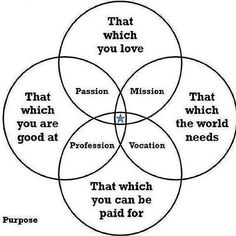 Does anyone find the purpose venn diagram (that which you are good at, that which you love, that which the world needs, and that which you can be paid for) ...