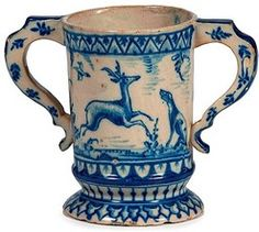 Delft Pottery; English, Vessel, Two-Handled, Bird/Hare/Elk & Hound, 7 inch.