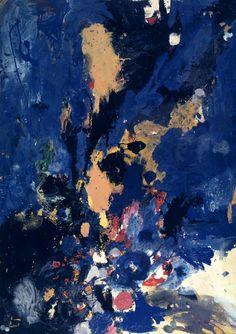 Gillian Ayres (English, b. 1930), Distillation, 1957. Oil paint and household paint on hardboard, 213.4 x 152.4 cm.