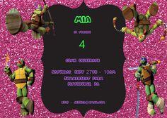 Teenage Mutant Ninja Turtles Girl Birthday Invitation by MiabbyDesigns on Etsy
