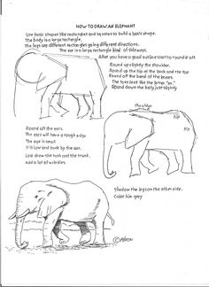 Elephant How to Draw Worksheets for The Young Artist Drawing Lessons, Drawing Techniques, Art Lessons, Colorful Drawings, Easy Drawings, Art Worksheets, Drawing Sketches, Sketching, You Draw