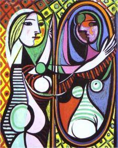 """Pablo Picasso """"Girl Before a Mirror"""" (1932) by Pablo Picasso. The Museum of Modern Art, New York, Oil on canvas    1.PABLO PICASSO (1881-1973) – Picasso es a la historia del Arte un gigantesco terremoto de secuelas eternas. Con la posible excepción de Miguel Ángel (quien centró sus mayores esfuerzos en la escultura y la arquitectura), ningún otro artista mostró tal ambición a la hora de situar su obra dentro de la historia del Arte. Picasso creó las vanguardias. Picasso destruyó las…"""