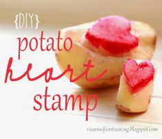 DIY Potato Heart Stamps. Perfect Valentine's day craft for toddlers