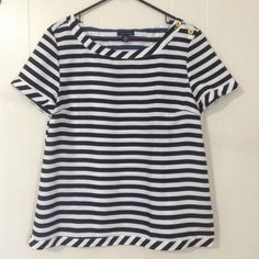 Nautical striped top Perfect condition. Stripes are a very dark navy (almost black). Tommy Hilfiger Tops