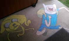 My brother's girlfriend brought over some sidewalk chalk. - Imgur