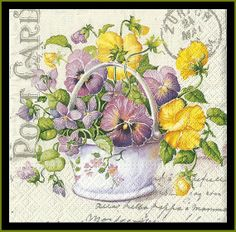 Shabby Chic Vintage Style Pansy Paper Napkins Decoupage Paper Mixed Media Scrapbooking