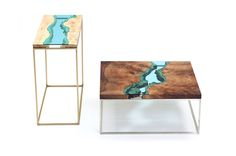 River collection: Wood Furniture embedded with Glass Rivers by Greg Klassen…