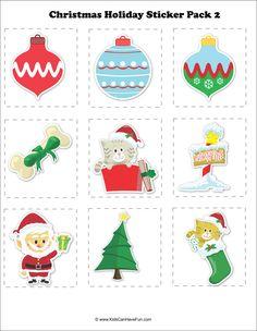 #Christmas #Holiday #sticker Pack 2 http://www.kidscanhavefun.com/christmas-activities.htm