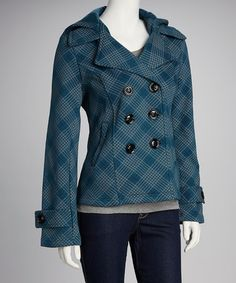 {Sebby Teal & Gray Plaid Double Breasted Fleece Jacket} I'm a sucker for plaid.