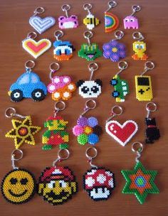 hama/perler bead or cross stitch design idea - charms, keyrings, jewelry, hair clips, cards. Easy Perler Bead Patterns, Diy Perler Beads, Perler Bead Art, Pearler Beads, Fuse Beads, Art Perle, Hama Beads Design, Iron Beads, Melting Beads