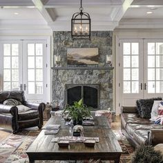 Fireplace In Between Patio Doors Design, Pictures, Remodel, Decor and Ideas - Light Fixture
