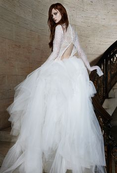 Ruched tulle ball gown wedding dress with a long-sleeve lace bodice and cut-out back detail, Vera Wang